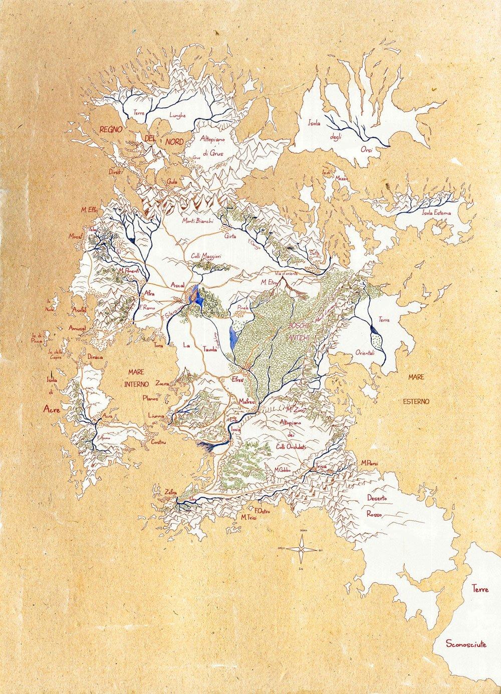 mappa della Terra di Prama - Confini di Trisa